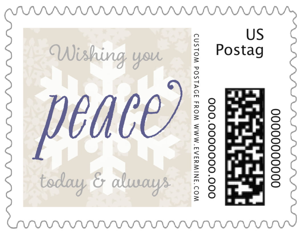 small custom postage stamps - champagne - snowflakes drift (set of 20)