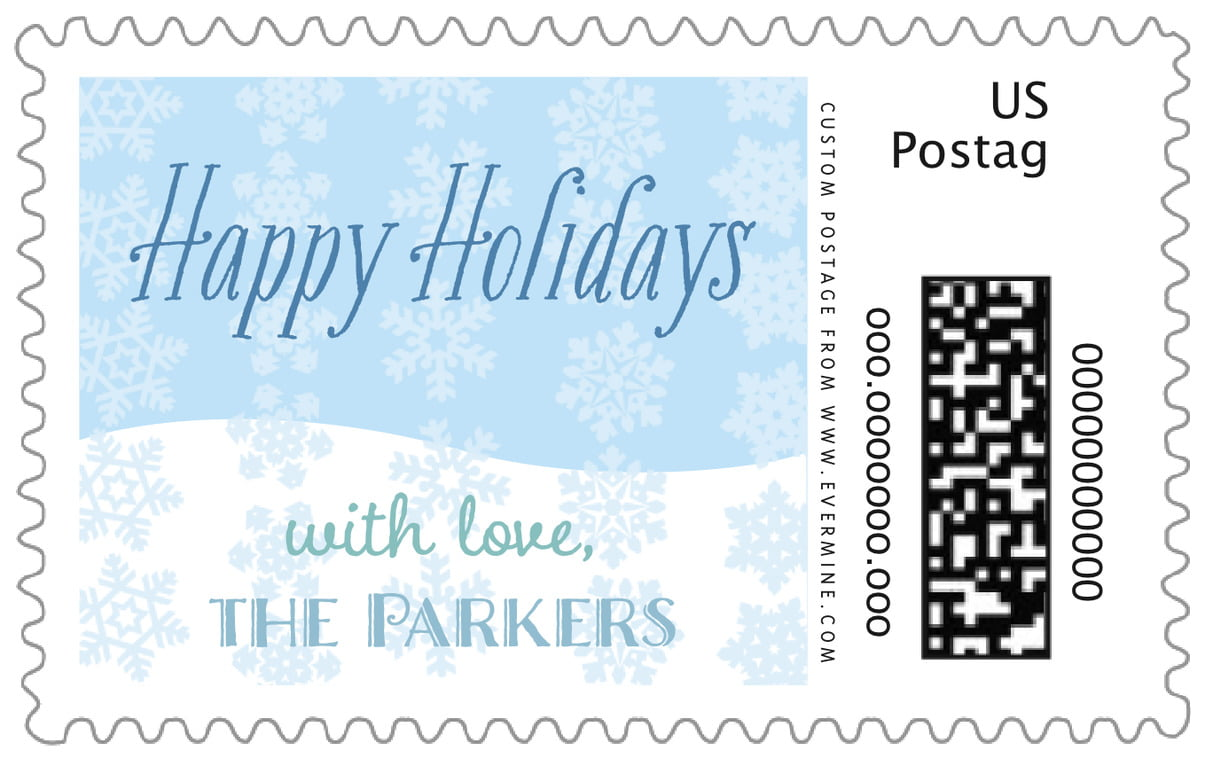 custom large postage stamps - ice blue - snowflakes drift (set of 20)