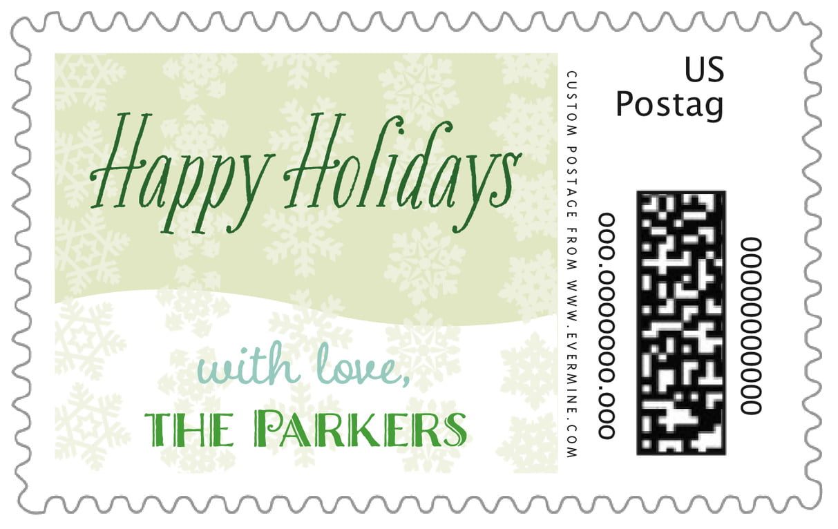custom large postage stamps - mint green - snowflakes drift (set of 20)