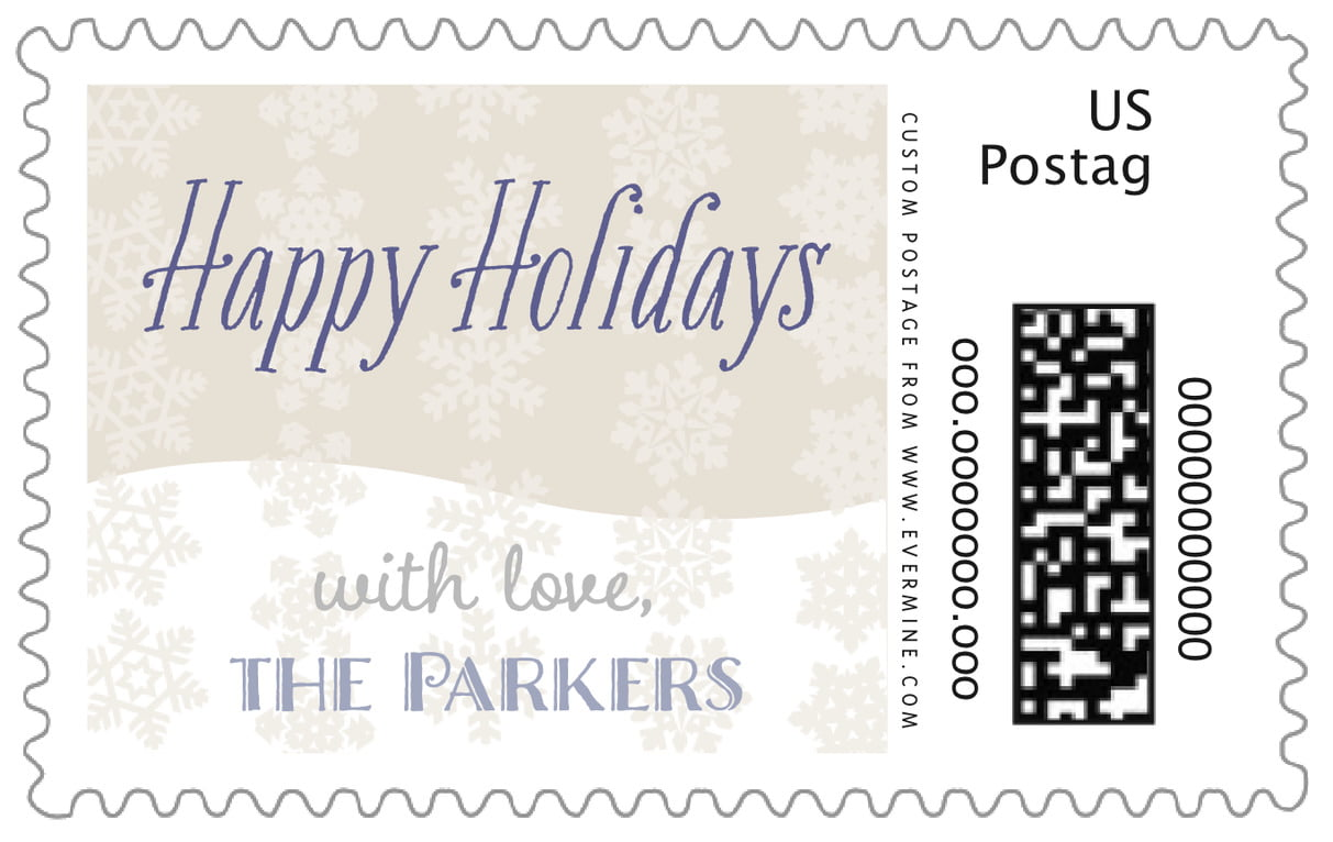 custom large postage stamps - champagne - snowflakes drift (set of 20)