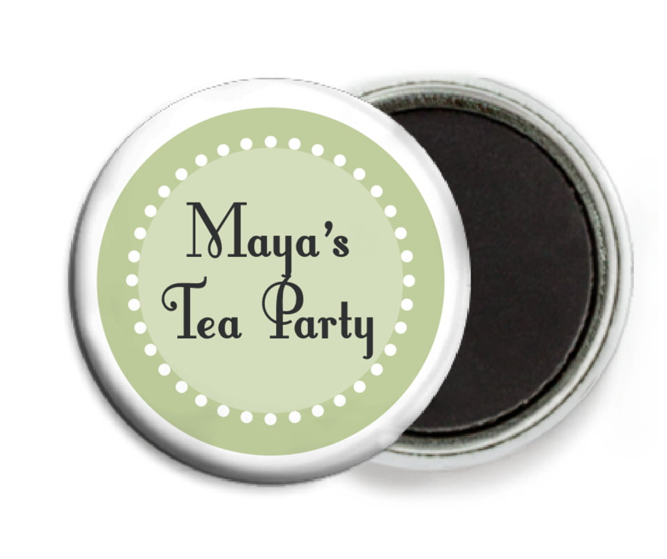 custom button magnets - green tea - summer garden (set of 6)