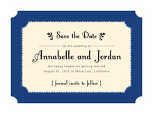 custom save-the-date cards - deep blue - summer garden (set of 10)