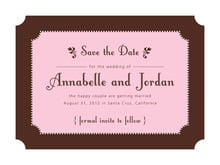 custom save-the-date cards - cocoa & pink - summer garden (set of 10)