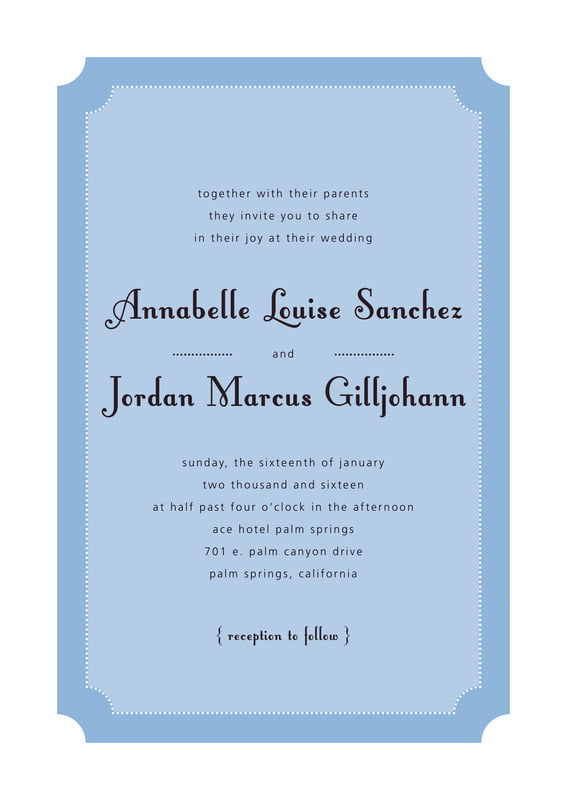custom invitations - blue - summer garden (set of 10)