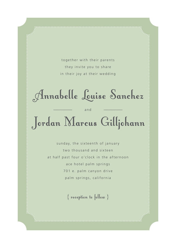 custom invitations - sage - summer garden (set of 10)