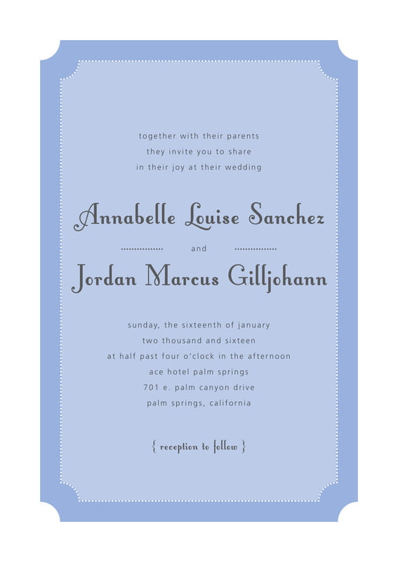 custom invitations - periwinkle - summer garden (set of 10)