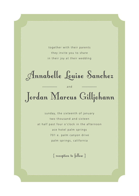custom invitations - green tea - summer garden (set of 10)