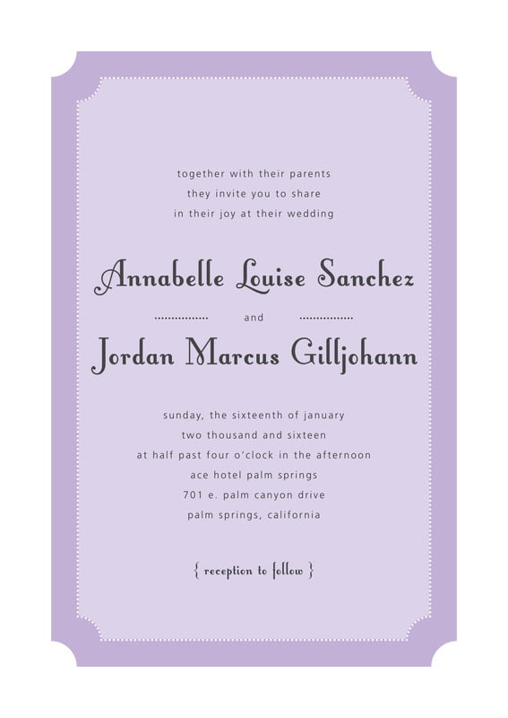 custom invitations - lilac - summer garden (set of 10)