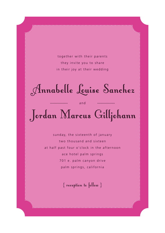 custom invitations - bright pink - summer garden (set of 10)