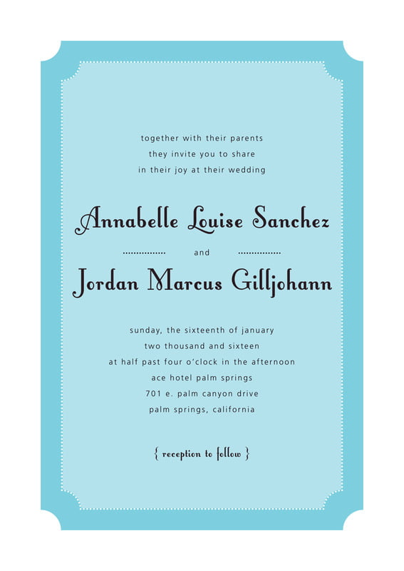 custom invitations - bahama blue - summer garden (set of 10)