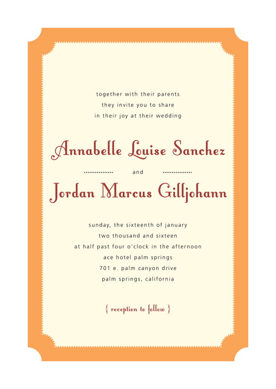 custom invitations - tangerine - summer garden (set of 10)
