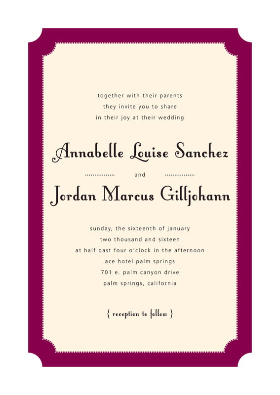 custom invitations - burgundy - summer garden (set of 10)