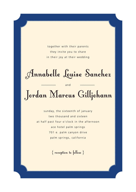 custom invitations - deep blue - summer garden (set of 10)