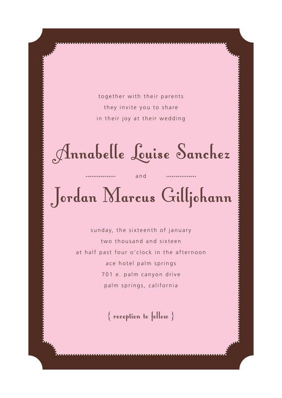 custom invitations - cocoa & pink - summer garden (set of 10)