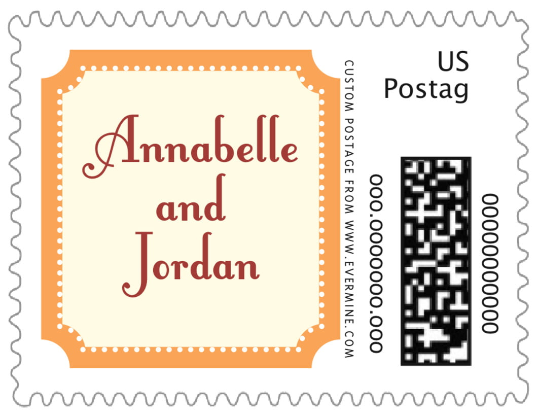 small custom postage stamps - tangerine - summer garden (set of 20)