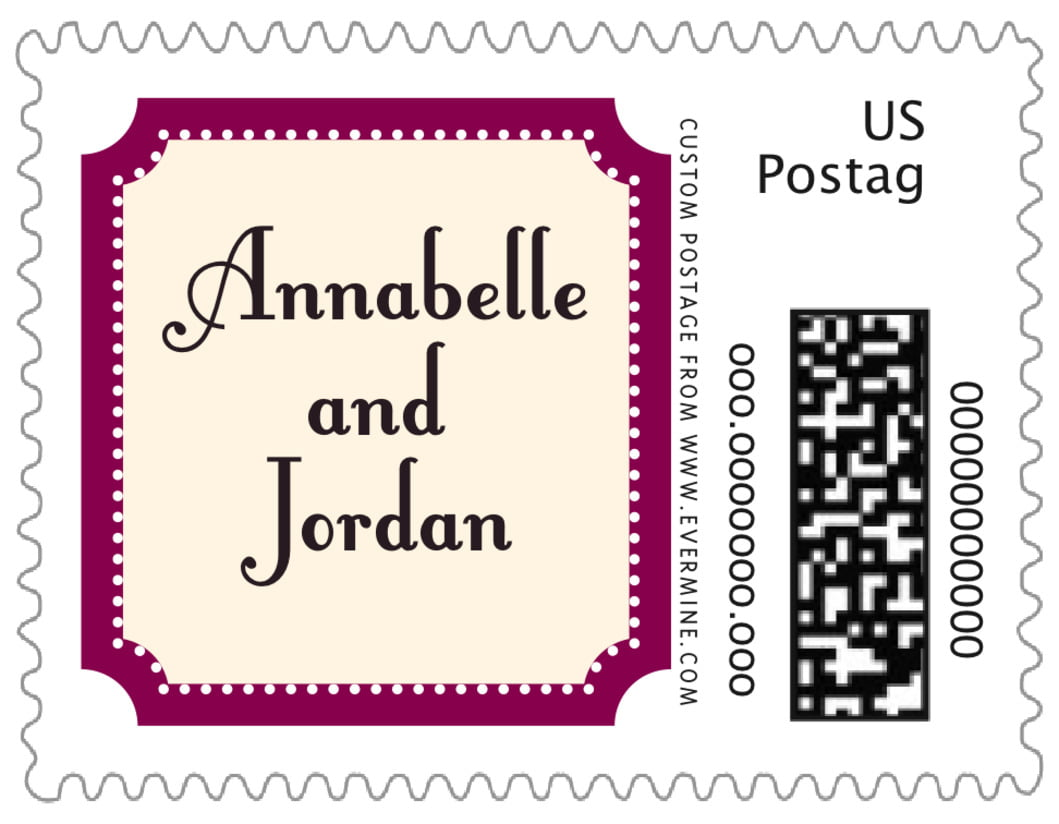 small custom postage stamps - burgundy - summer garden (set of 20)