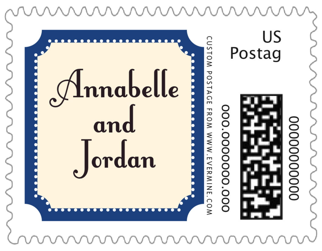 small custom postage stamps - deep blue - summer garden (set of 20)