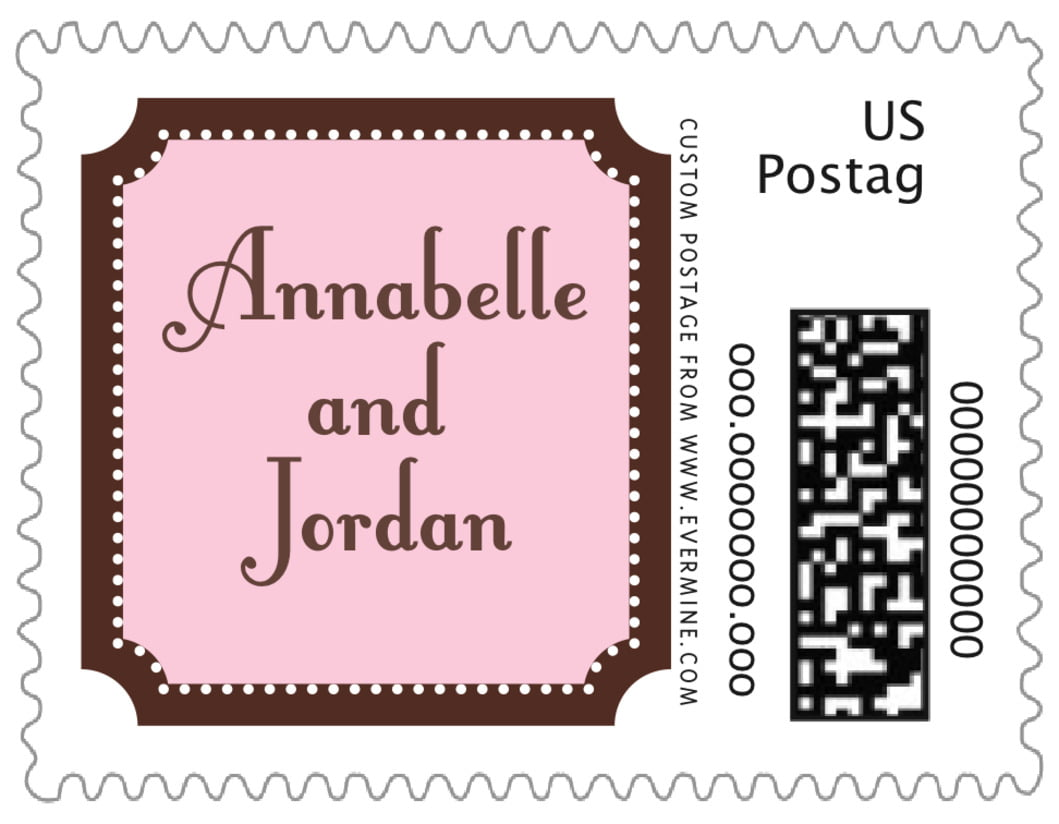 small custom postage stamps - cocoa & pink - summer garden (set of 20)