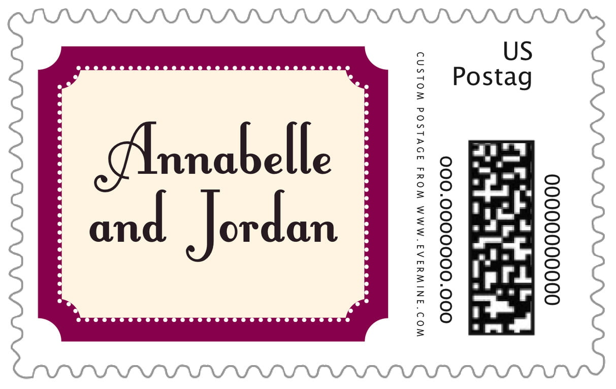 custom large postage stamps - burgundy - summer garden (set of 20)