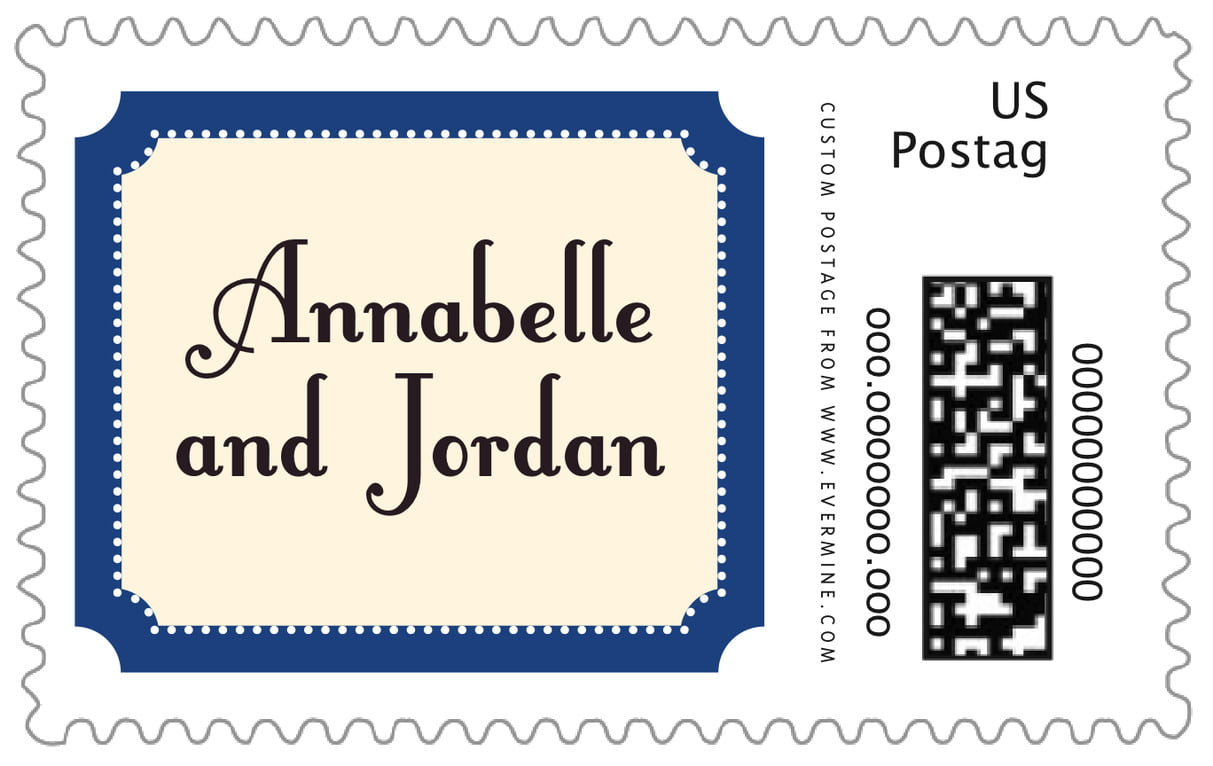 custom large postage stamps - deep blue - summer garden (set of 20)