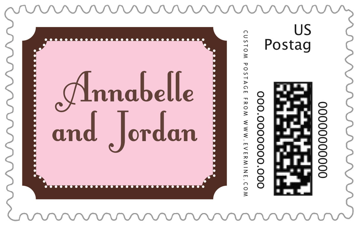 custom large postage stamps - cocoa & pink - summer garden (set of 20)