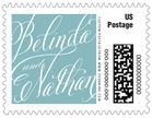 Signature Script business postage stamps
