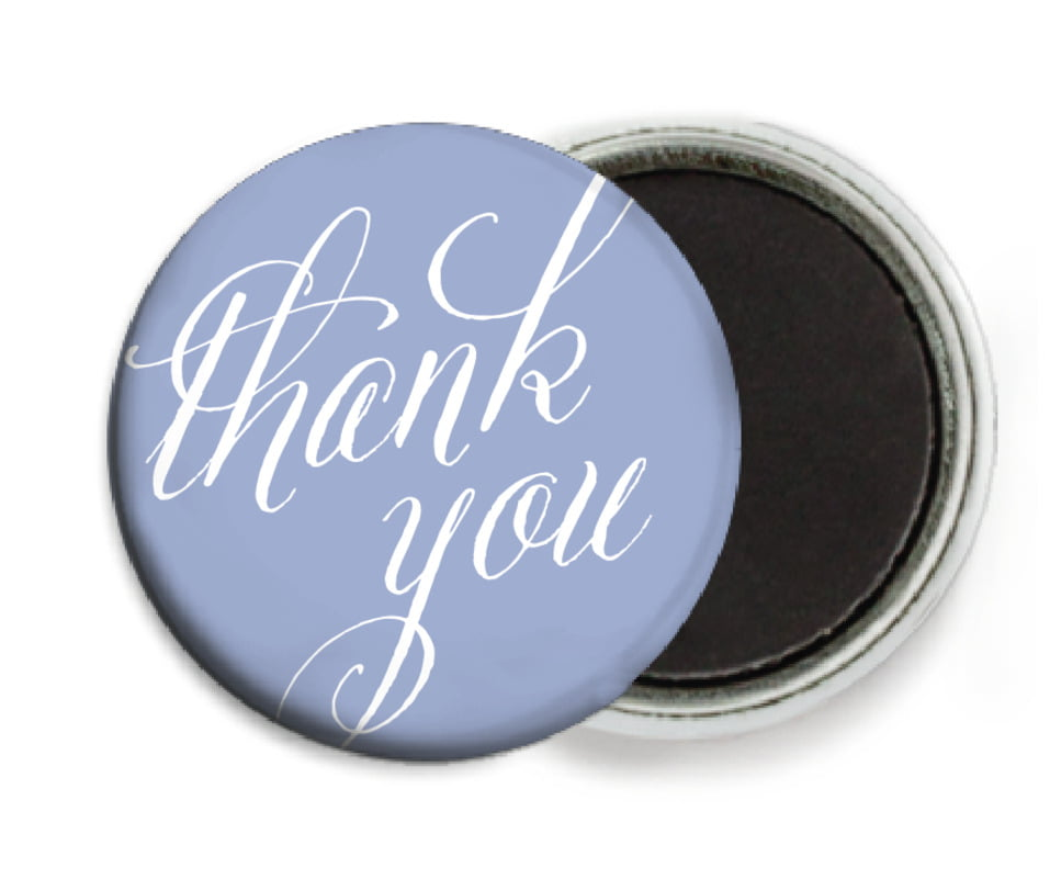 custom button magnets - periwinkle - signature script (set of 6)