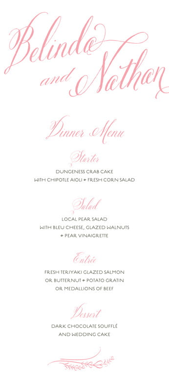 custom menus - grapefruit - signature script (set of 10)