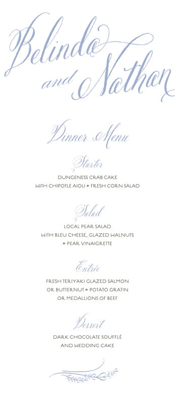 custom menus - periwinkle - signature script (set of 10)
