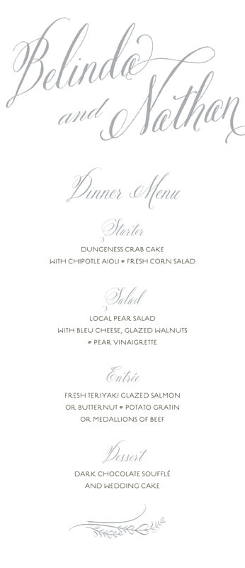 custom menus - stone - signature script (set of 10)