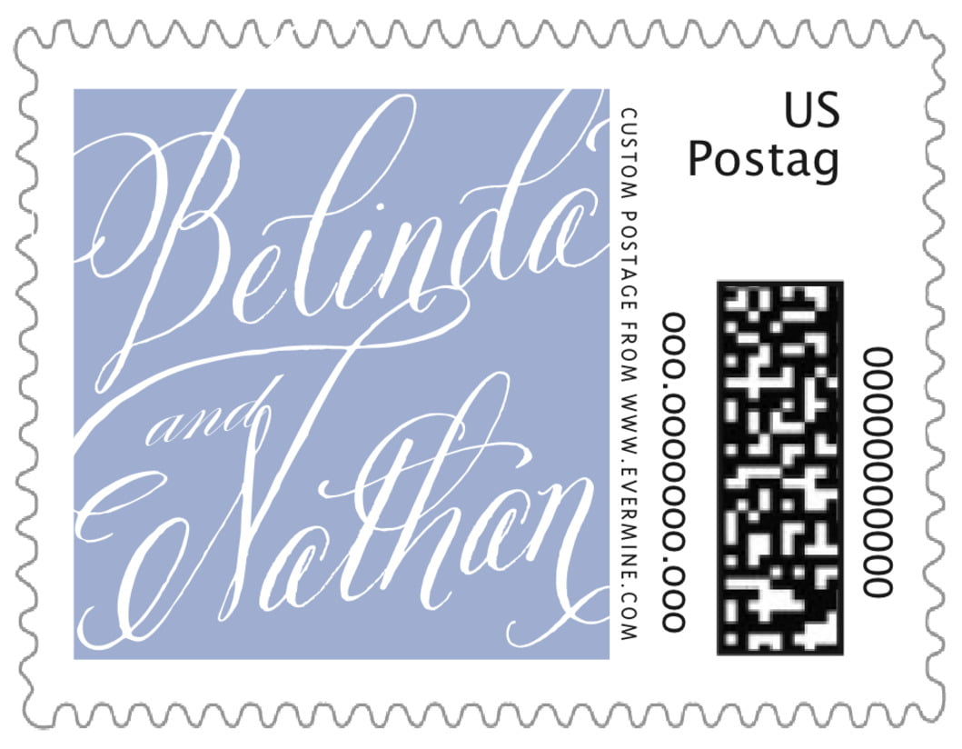small custom postage stamps - periwinkle - signature script (set of 20)