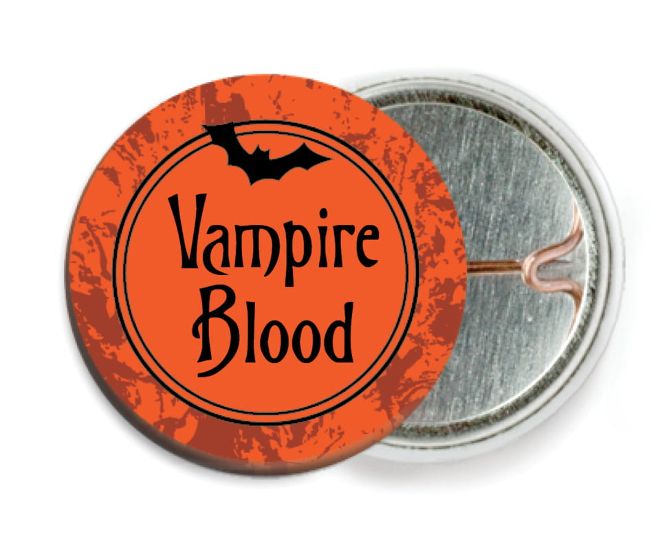 custom pin back buttons - orange - spook (set of 6)