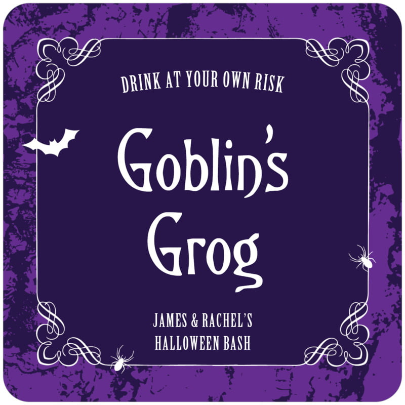 square holiday coasters - purple - spook (set of 12)