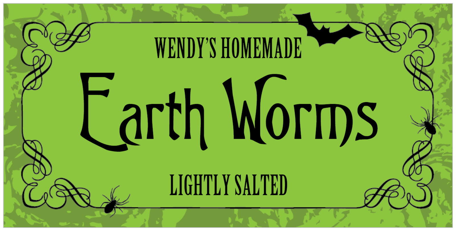 small rectangular food/craft labels - lime - spook (set of 24)