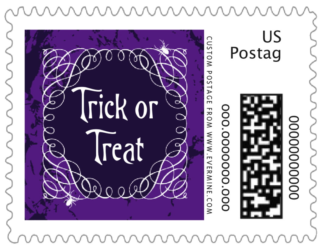 small custom postage stamps - purple - spook (set of 20)