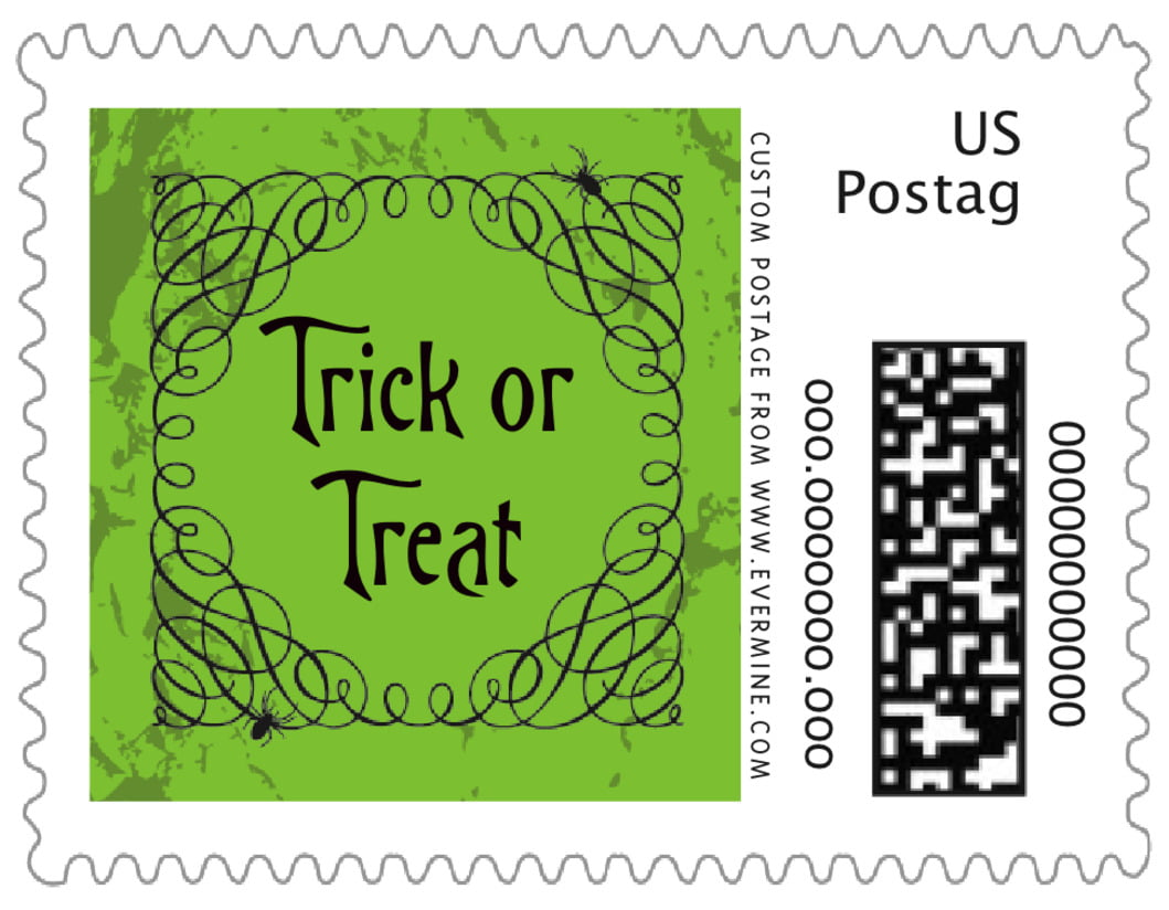 small custom postage stamps - lime - spook (set of 20)