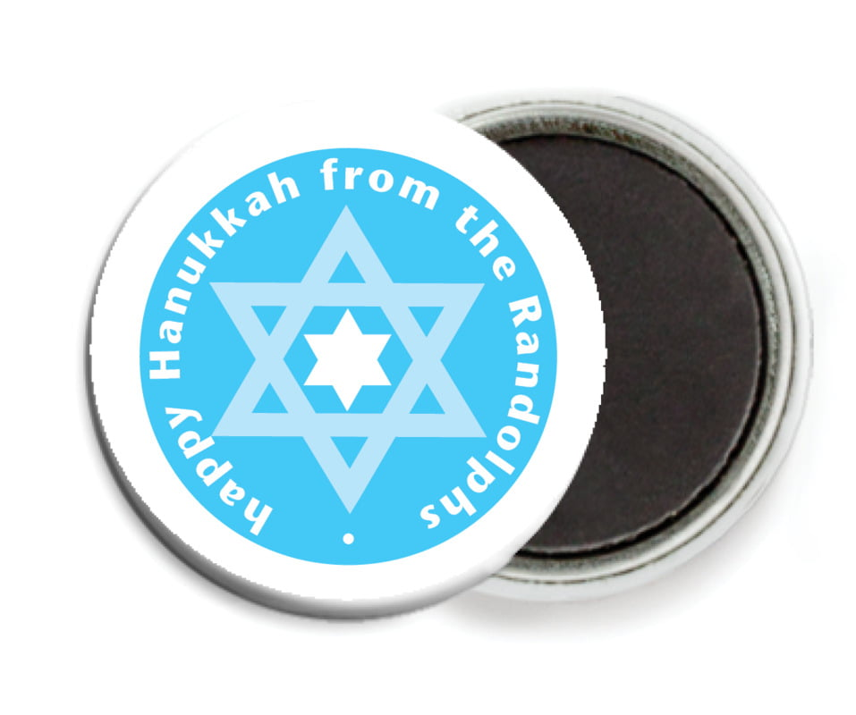custom button magnets - ice blue - star of david (set of 6)