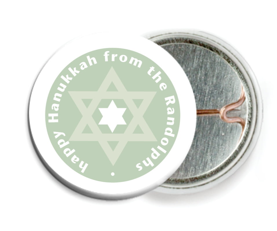 custom pin back buttons - sage - star of david (set of 6)