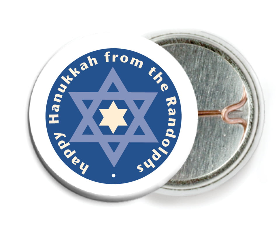 custom pin back buttons - deep blue - star of david (set of 6)