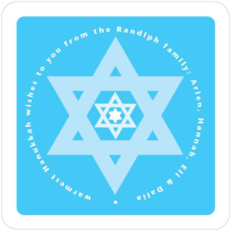 square holiday coasters - ice blue - star of david (set of 12)