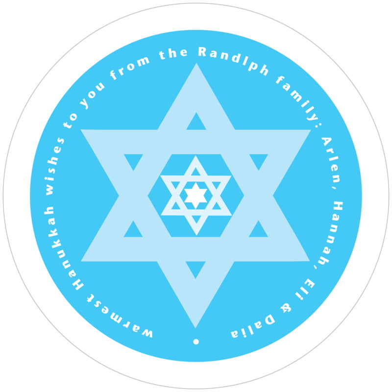 round holiday coasters - ice blue - star of david (set of 12)