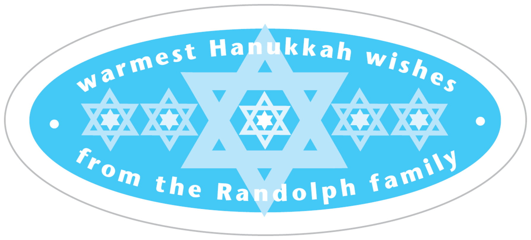 oval food/craft labels - ice blue - star of david (set of 30)