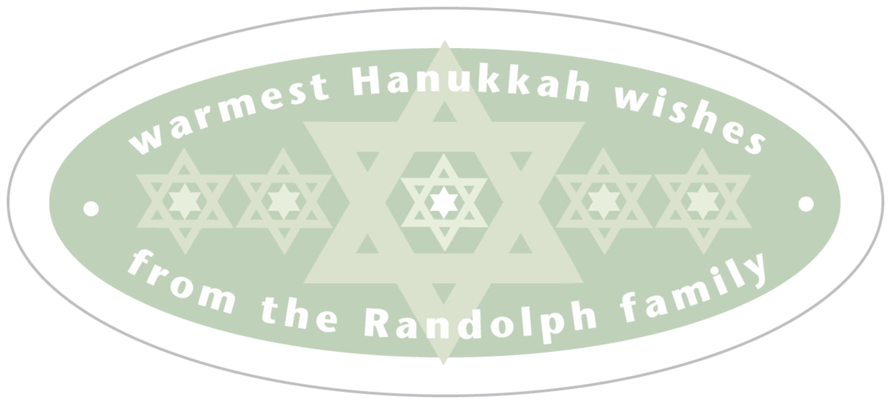 oval food/craft labels - sage - star of david (set of 30)