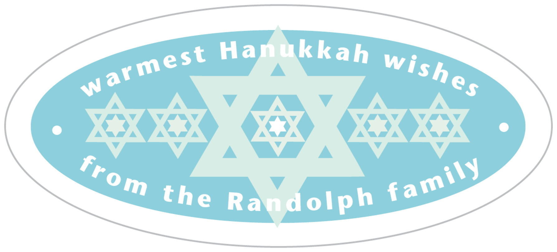 oval food/craft labels - sky - star of david (set of 30)