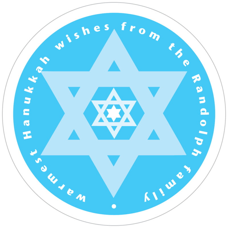 circle food/craft labels - ice blue - star of david (set of 12)