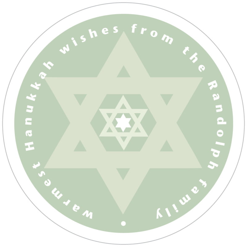 circle food/craft labels - sage - star of david (set of 12)