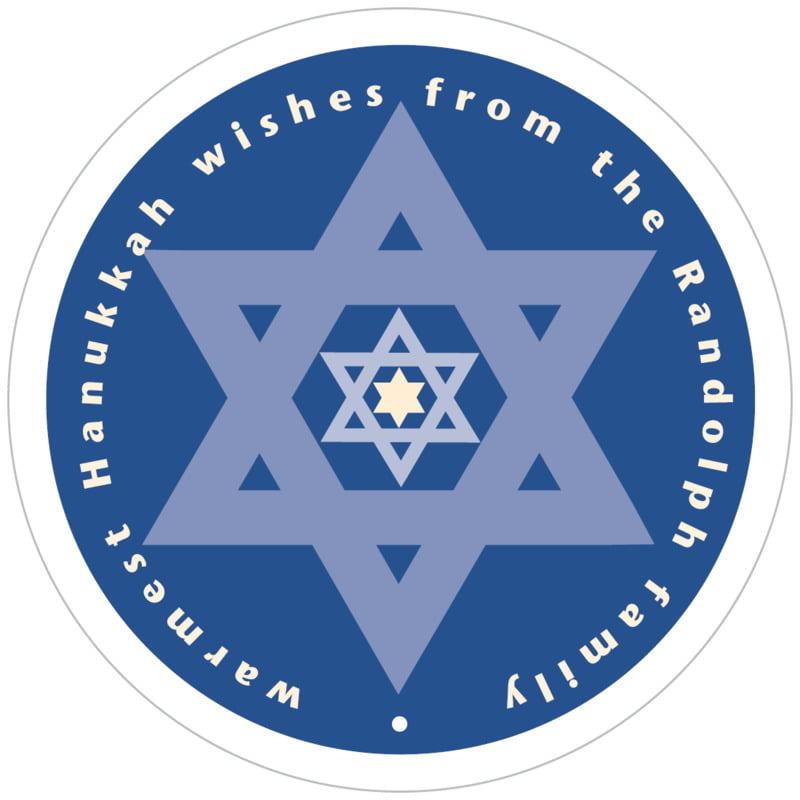 circle food/craft labels - deep blue - star of david (set of 12)