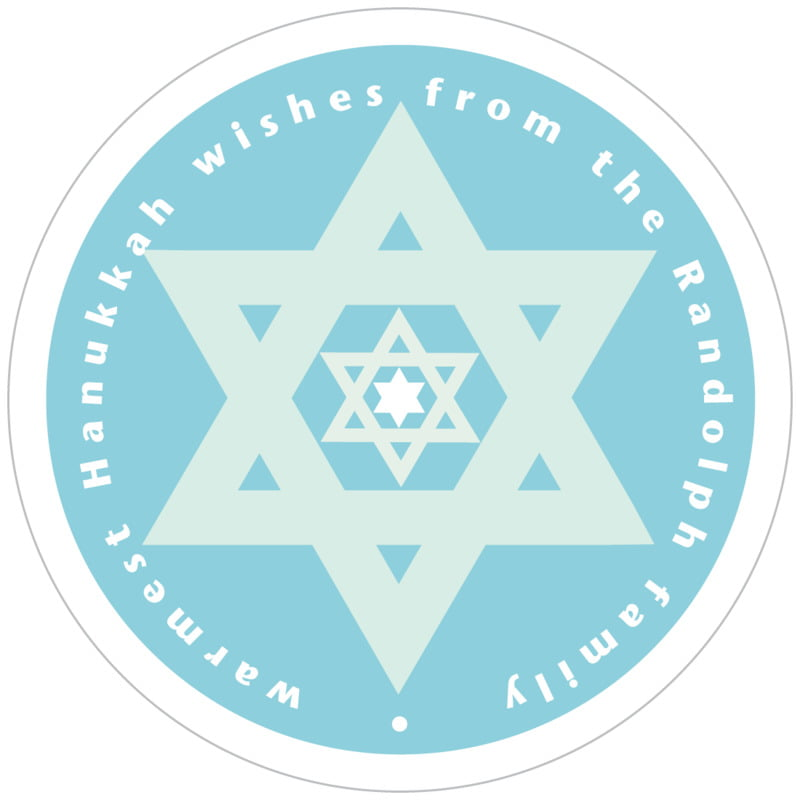 circle food/craft labels - sky - star of david (set of 12)
