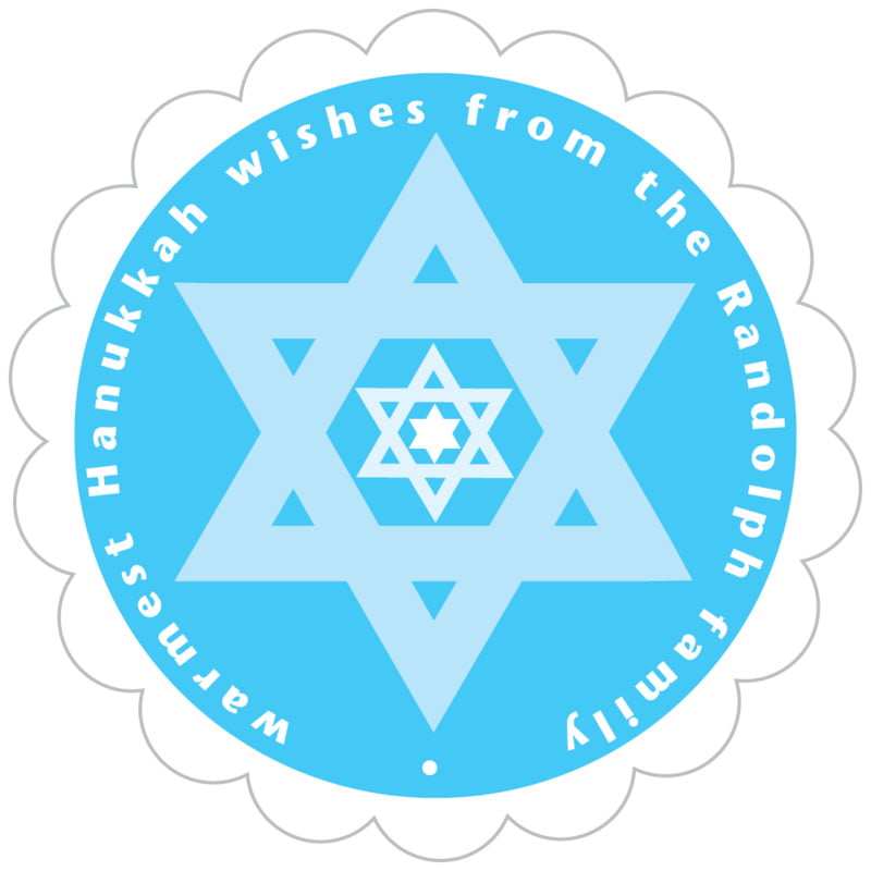 scallop food/craft labels - ice blue - star of david (set of 20)