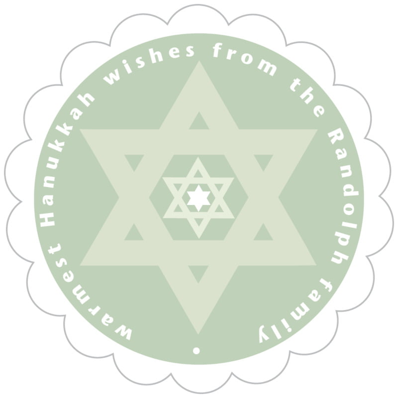 scallop food/craft labels - sage - star of david (set of 20)